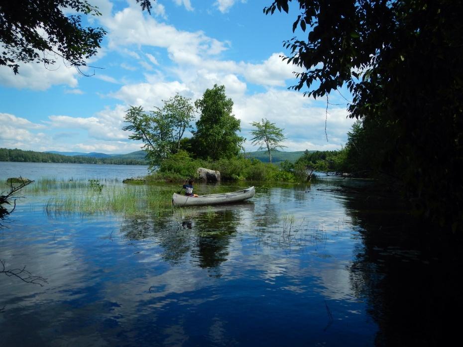 My son canoeing on Lake Umbagog