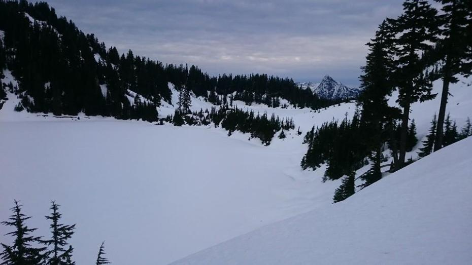 The southern Twin Lake, summit trail passes between the two lakes. — at Winchester Mountain, Washington.